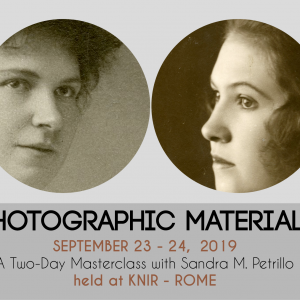 Photographic Materials: Identification, Care, Storage September 23-24, 2019